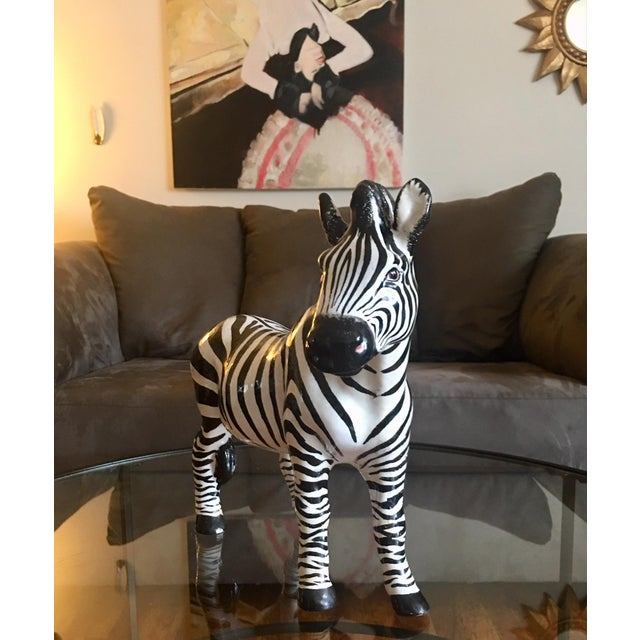 This incredible mid-century Zebra is hand painted, glazed, and signed. This item was purchased from a Long Island...