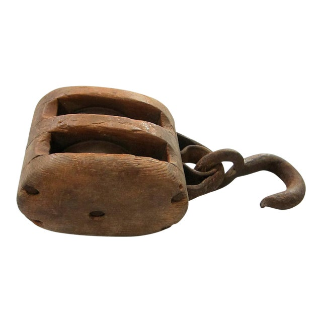 Antique Wood and Iron Pulley - Image 1 of 3