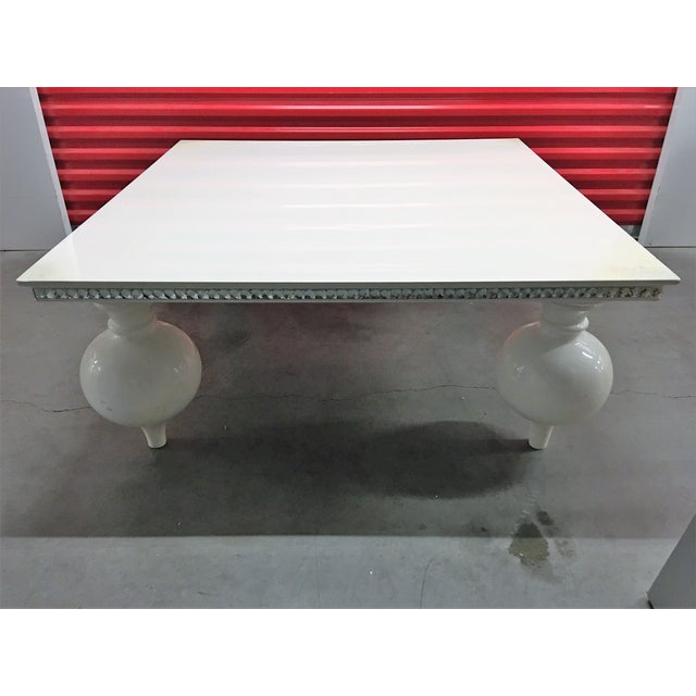 White Lacquer Coffee Table with Mirrored Edges - Image 3 of 6
