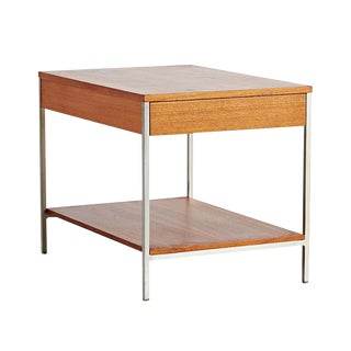 George Nelson Walnut & Aluminum Side Table W/ Drawer Circa 1960s