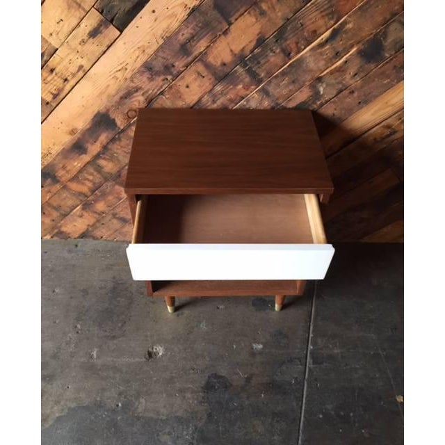 Mid-Century Walnut & White Lacquer Nightstand - Image 5 of 7