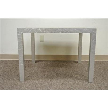 Item: Vintage Mid Century Modern Square Tall Coffee Table. This wonderful table is wrapped in a silver textured foil like...