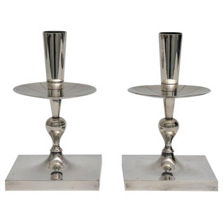 Silver Plated Candlesticks by Tommy Parzinger - a Pair For Sale