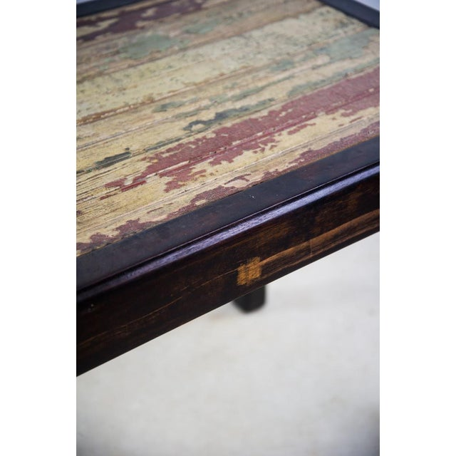 Rustic Reclaimed Wood Side Table For Sale - Image 4 of 10