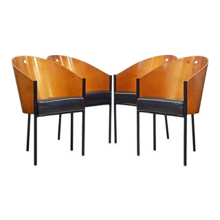 Group of Four Leather Cover Costes Armchairs by Philippe Starck for Driade Italy - Set of 4 For Sale