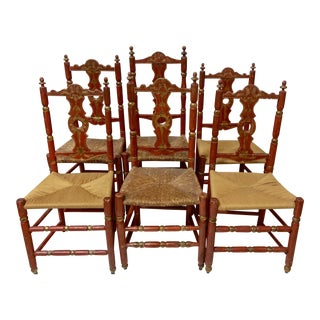 Antique Ladder Back Italian Dining Chairs - Set of 6 For Sale