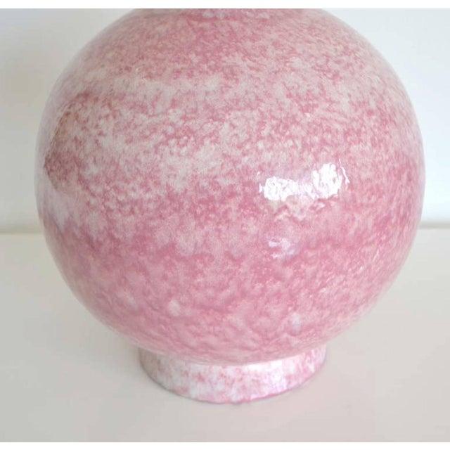 1960s Mid-Century Long Neck Crackle Glazed Ceramic Vase For Sale - Image 5 of 8