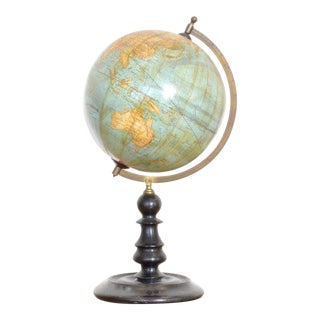 Antique French Globe on Ebonized Base Early 20th C For Sale