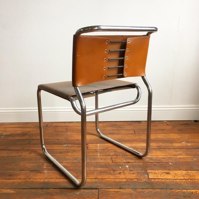Vintage Oiled Leather & Chrome Cantilever Chairs by Nicos Zographos - Set of 4 For Sale - Image 5 of 9