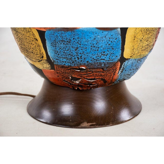 Mid-Century Modern Italian Volcanic Glazed Pottery Ceramic Table Lamps - Set of 2 For Sale - Image 11 of 13