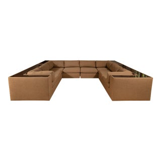 Four-Piece Milo Baughman Sectional Sofa with Original Polymer Shelf Back For Sale