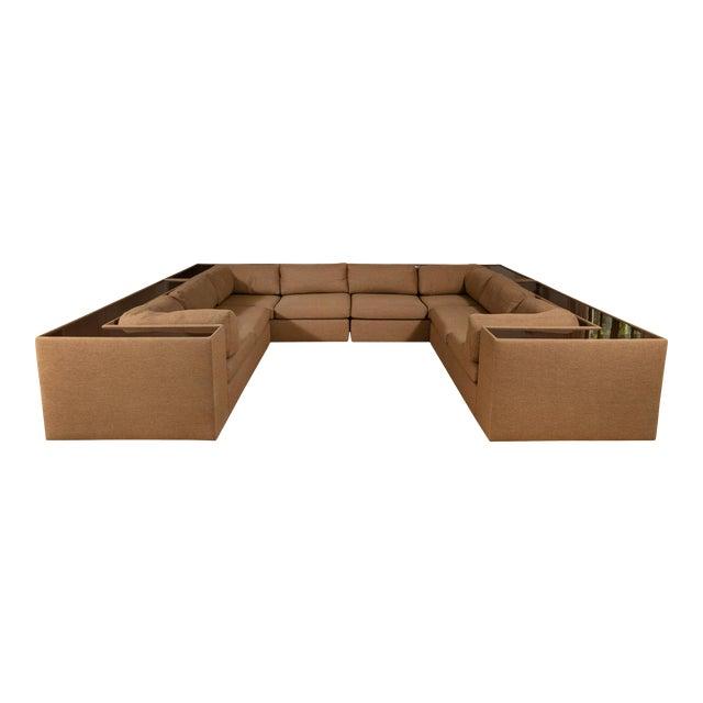 Four-Piece Milo Baughman Sectional Sofa with Original Polymer Shelf Back For Sale