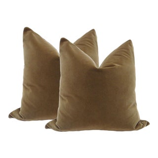 "22"" Velvet Pillows in Chestnut Brown - A Pair"