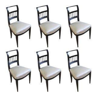 In the Style of J.M.Frank Set of Chicest 6 Black Lacquered Chairs For Sale