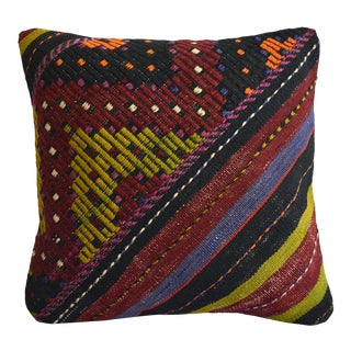 "16"" Hand-Woven Kilim Rug Pillow Cover Turkish Sham Throw Pillow For Sale"