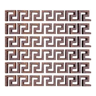 Set of Six Iron Greek Key Fragments For Sale
