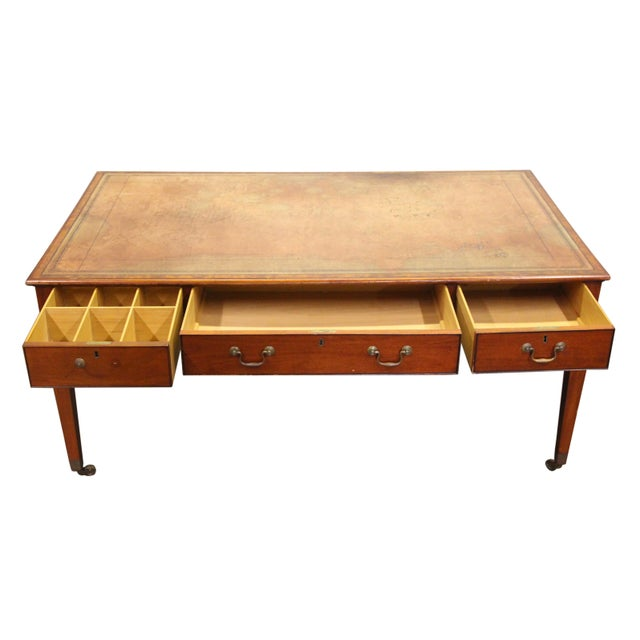 Leather Top Long Wooden Desk on Wheels - Image 10 of 11