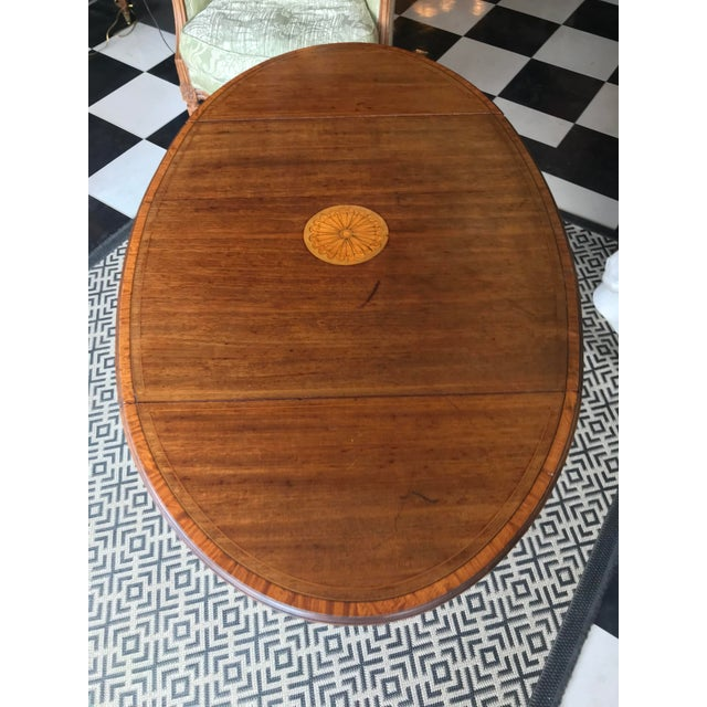 Brown 19th Century Traditional Mahogany Drop Leaf Oval Side Table For Sale - Image 8 of 11