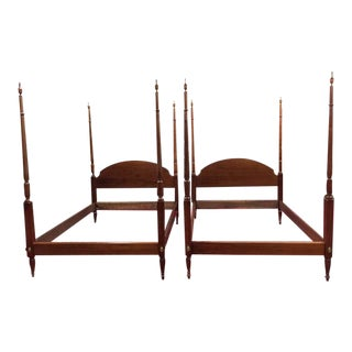 1990s Cherry Wood Full Size Poster Beds - a Pair For Sale