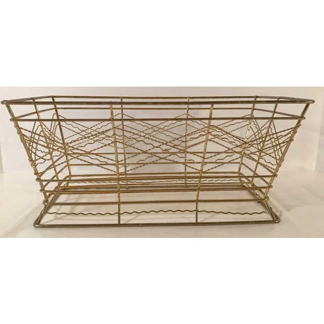 Mid 20th Century Mid Century Expanded Gold Metal Basket For Sale - Image 5 of 8