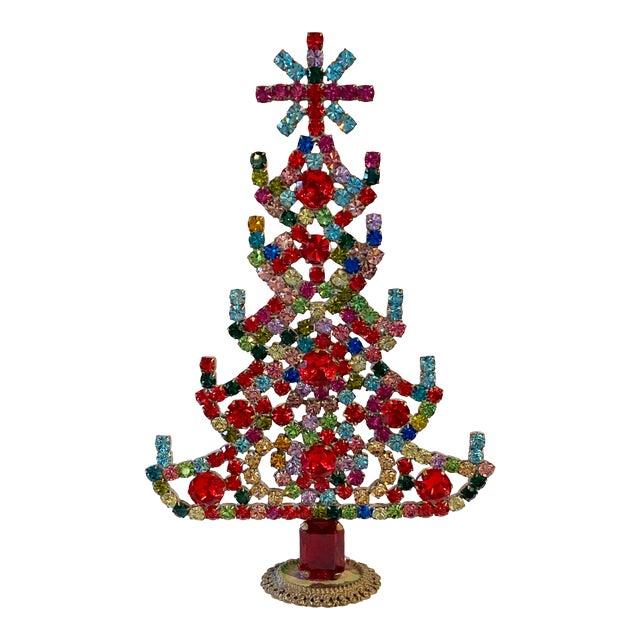 Multi Colored Czech Rhinestone Christmas Tree For Sale