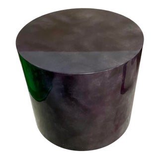 Karl Springer Style Laquered Goatskin Large Drum Table For Sale