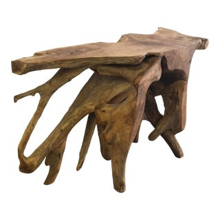 Organic Modern Solid Teak Live Edge Free Form Console Table For Sale