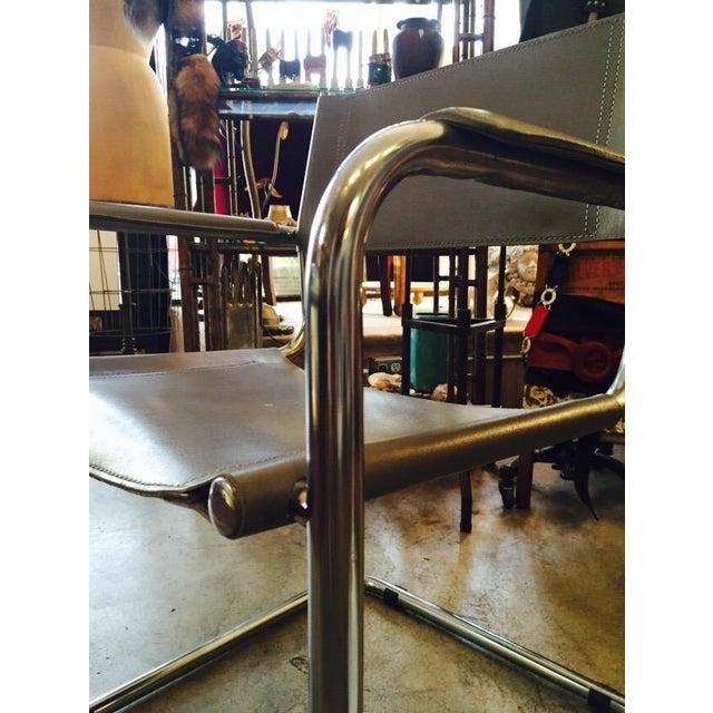Italian Smoky Grey Leather Sling Chrome Chair - Image 10 of 10