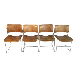 1960s Vintage David Rowland Mid Century Wood Chrome Stack Connecting Chairs- Set of 4 For Sale