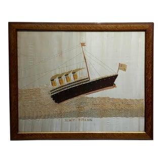 Hmt Titanic -Original 1912 Embroidery Titanic Picture on Silk & Wool For Sale