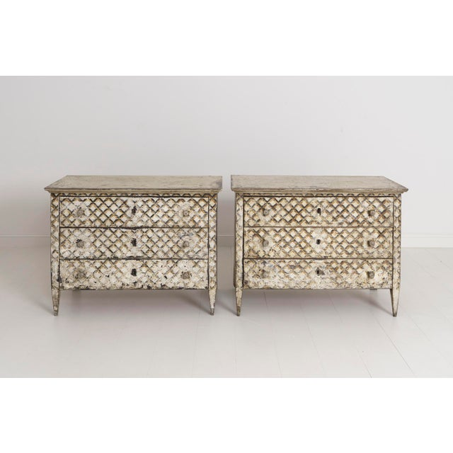 Paint Pair of Italian Neoclassical Style Crosshatch Painted Commodes For Sale - Image 7 of 12