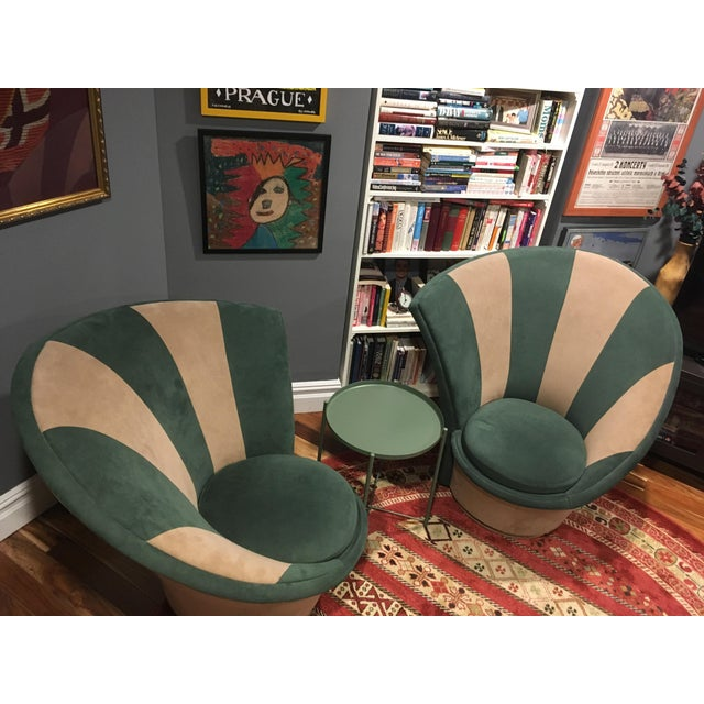 Striking pair of Vintage Kagan Swivel chairs by Weiman features Hunter/ Taupe Ultrasuede fabric, memory swivel base &...
