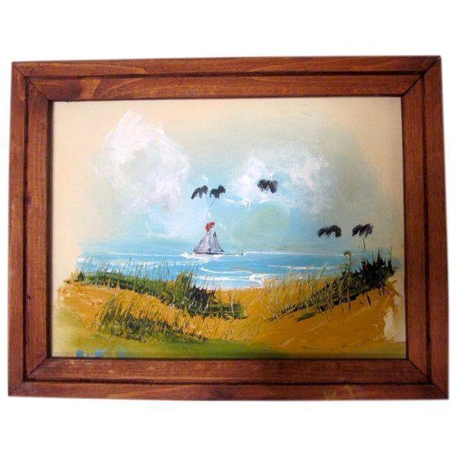 Coastal Beach Scene Signed Painting - Image 3 of 9