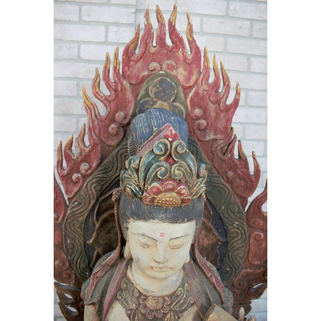 Wood Mid 20th Century Chinese Quan-Yin Sitting Mandorla Statues - a Pair For Sale - Image 7 of 13