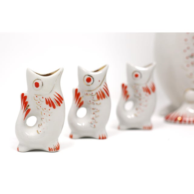 Mid-Century Modern Vintage Porcelain Hand Painted Koi Fish Sake Decanter and Cups - Signed and Numbered - Set of 7 For Sale - Image 3 of 10