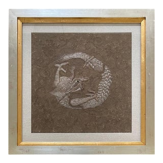 Framed Japanese Relief Embroidery Textile Art of Dragon For Sale
