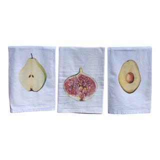 Hand-Designed Tea Napkins Pear, Fig, & Avocado - Set of 3