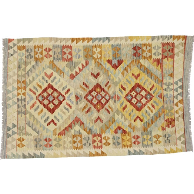 20th Century Boho Chic Afghani Shirvan Kilim Rug With Tribal Style For Sale - Image 10 of 11