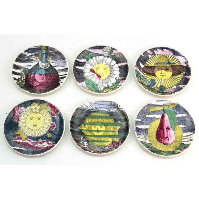 """1960s Fornasetti """"Soli E Lune"""" Porcelain Coasters With Original Box - Set of 6 For Sale - Image 10 of 10"""
