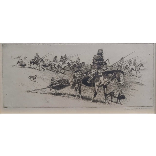 Edward Borein -Blackfoot Indian Moving Camp-1920s Original Etching For Sale - Image 4 of 10