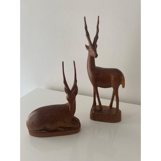 Mid-Century Modern Mid 20th Century Teak Wood Antelope/Gazelle Sculptures - 2 Pieces For Sale - Image 3 of 4