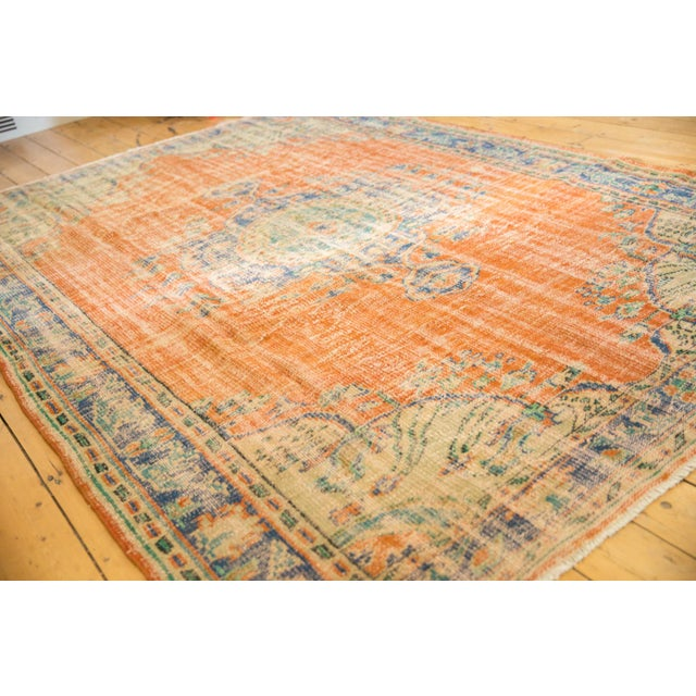 "Boho Chic Vintage Distressed Oushak Carpet - 6'8"" X 9'6"" For Sale - Image 3 of 9"
