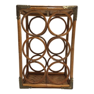 Vintage Bamboo & Brass Wine Rack For Sale