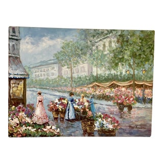 Vintage Signed Renoir Style Canvas Painting For Sale