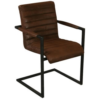 Hobbs Germany Dining Chair Brown Microfiber Suede For Sale