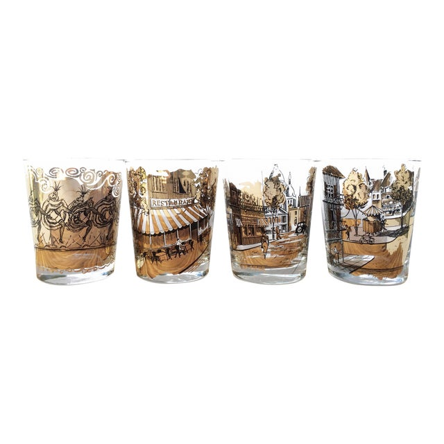 Mid Century Bar Glasses - Set of 4 Black and Gold French Drinking Glasses For Sale