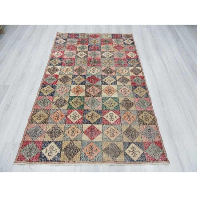 Islamic Vintage Turkish Colorful Deco Rug - 4′5″ × 7′2″ For Sale - Image 3 of 6