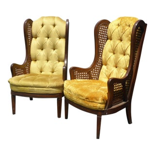 Vintage Mid Century Modern Gold Tufted Cane Tallback Accent Chairs ~ a Pair For Sale