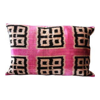 Velvet Silk Ikat Pillow For Sale