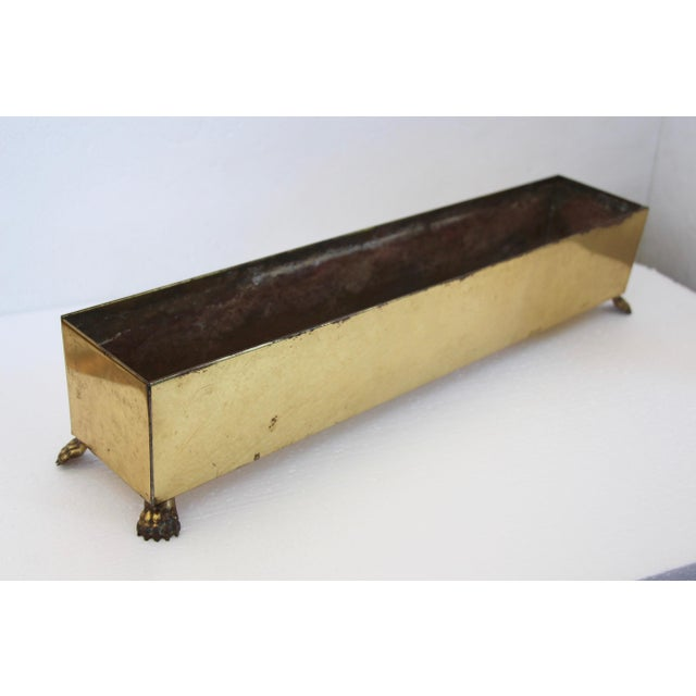 Traditional Rectangular Brass Paw Foot Planter For Sale - Image 3 of 6